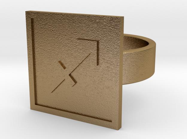 Sagittarius Ring in Polished Gold Steel: 10 / 61.5