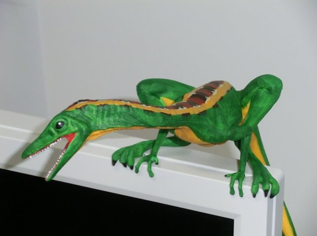 Compy dinosaur desktop figurine 3d printed Painted by shapie kemuese (see comments for more pics)