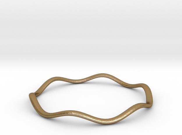 Bracelet  Stackwave 02c in Polished Gold Steel: Medium