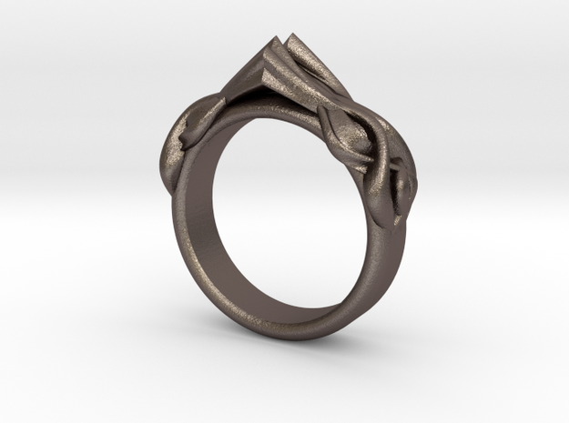 Designer RING 6 in Polished Bronzed-Silver Steel: 9 / 59