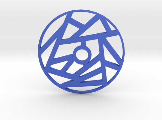 Drop Spindle Whorl--Linear in Blue Processed Versatile Plastic