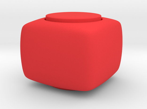 Solid Fidget Spinner Cube - Customizable  in Red Strong & Flexible Polished