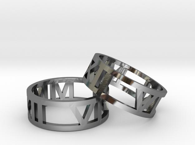 Date Ring Pair in Premium Silver
