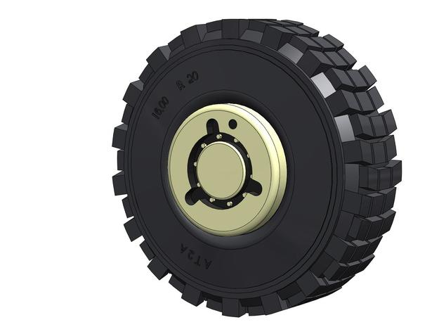 Batman HEMTT Tire & Wheel 1/6 Scale in White Natural Versatile Plastic