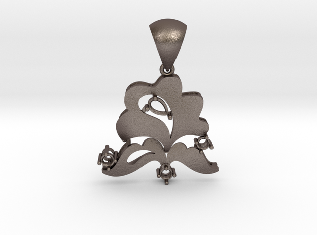 Pendant with bail PS001000020 in Polished Bronzed Silver Steel