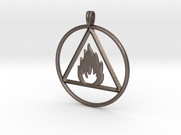 Ignis Alchemy symbol Fire Element Jewelry Pendant in Polished Bronzed Silver Steel