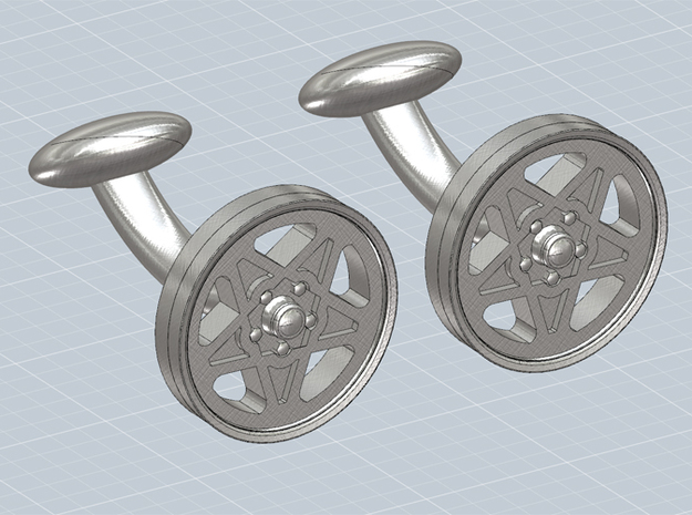 CUFFLINKS CROMODORA WHEEL STEEL 3d printed Cufflinks with the Ferrari 308 Cromodora wheel, render.
