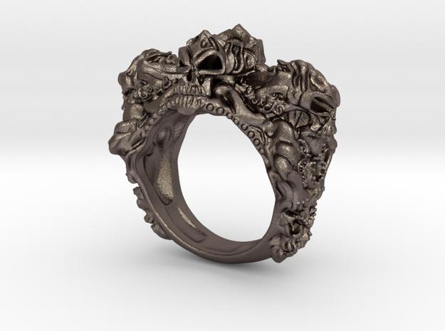 Skull Biker ring RS005000001 in Stainless Steel: 6 / 51.5