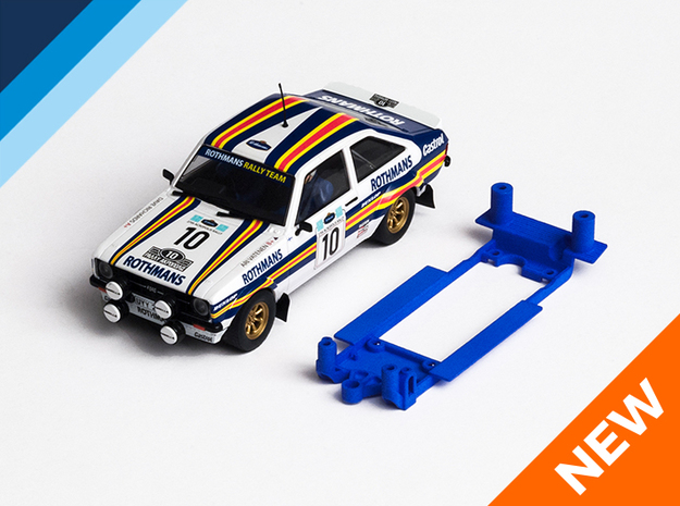 1/32 Scalextric Ford Escort Mk2 Chassis for IL pod in Blue Strong & Flexible Polished
