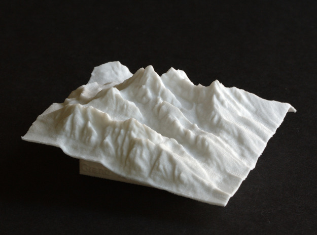 3'' Grand Tetons Terrain Model, Wyoming, USA in White Strong & Flexible