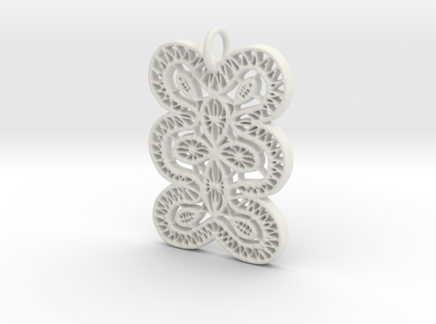 Lace Ornament Pendant Charm in White Natural Versatile Plastic