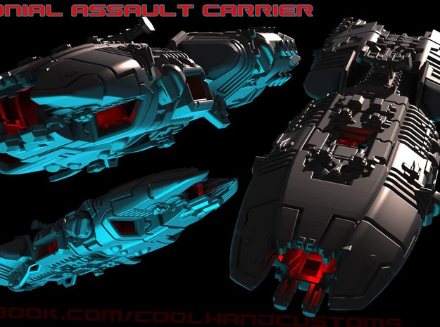 Colonial Assault Carrier - Starship Miniature in White Strong & Flexible