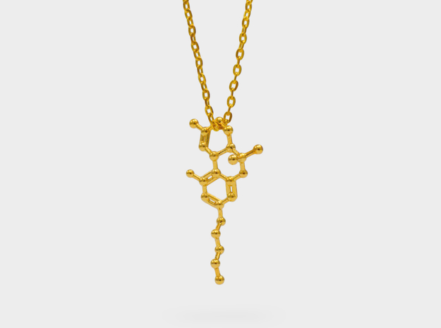 THC Molecule Necklace in 18k Gold Plated Brass