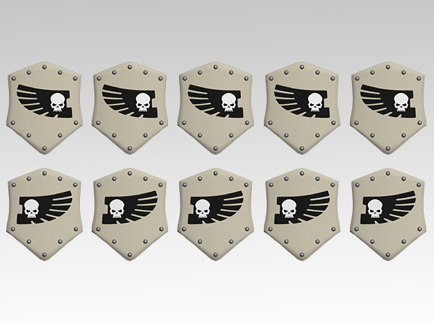 Skull & Feathered Wing Combat Shields x10