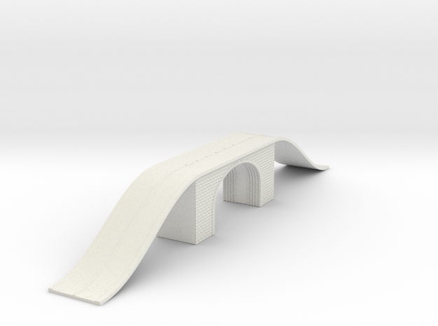 Arch Bridge Double With Road N Scale in White Natural Versatile Plastic