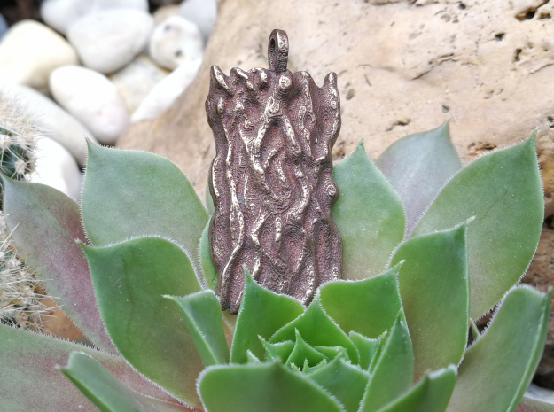 Tree bark pendant in Polished Bronze Steel
