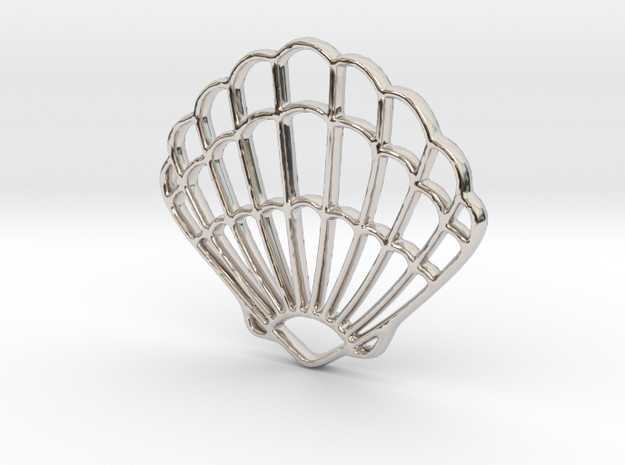 Seashell Pendant Charm in Rhodium Plated