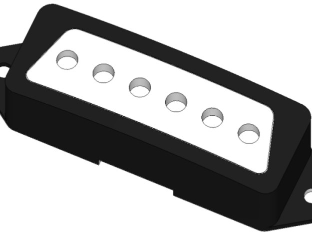 """1802T Pickup Cover 3d printed Render: Painted black cover with raw """"insert""""."""