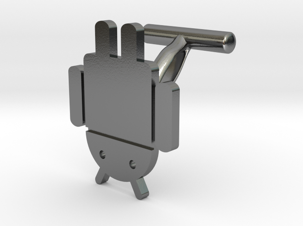 Droidbot Cufflinks in Polished Silver