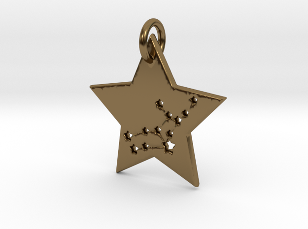 Virgo Constellation Pendant in Polished Bronze