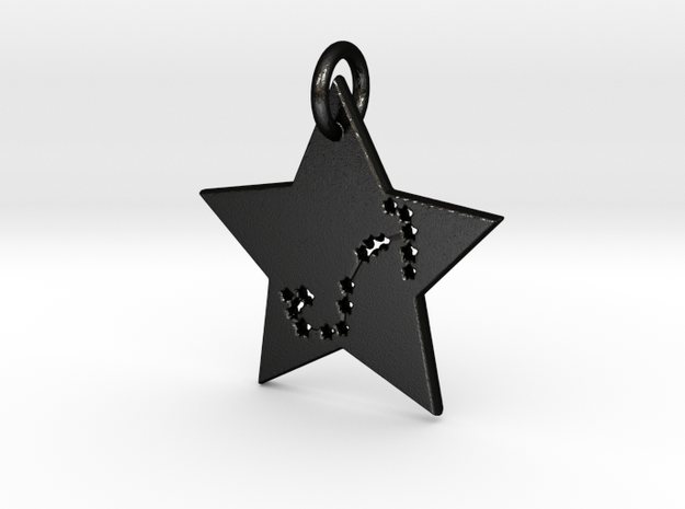 Scorpio Constellation Pendant in Matte Black Steel