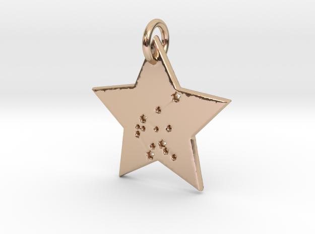 Aquarius Constellation Pendant in 14k Rose Gold Plated Brass