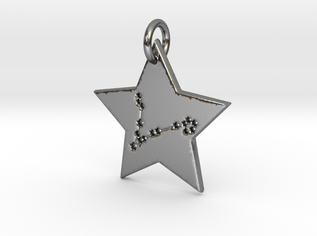 Pisces Constellation Pendant in Polished Silver