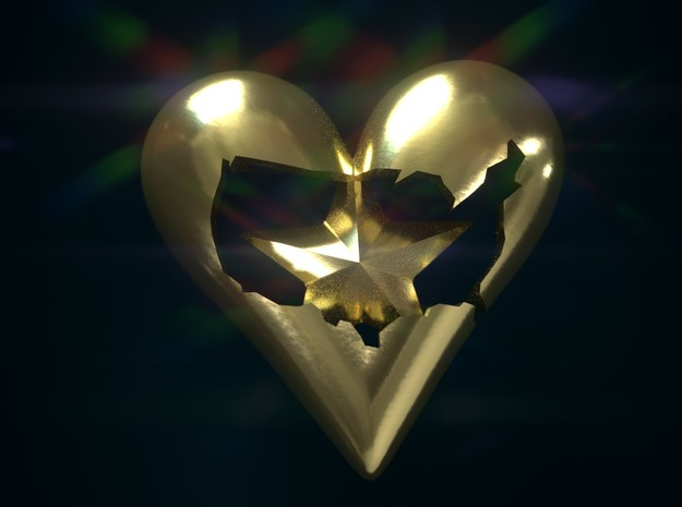 USA in Heart with Star Pendant in Polished Brass