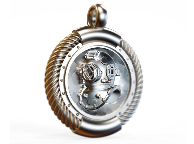 Diver  in Polished Silver
