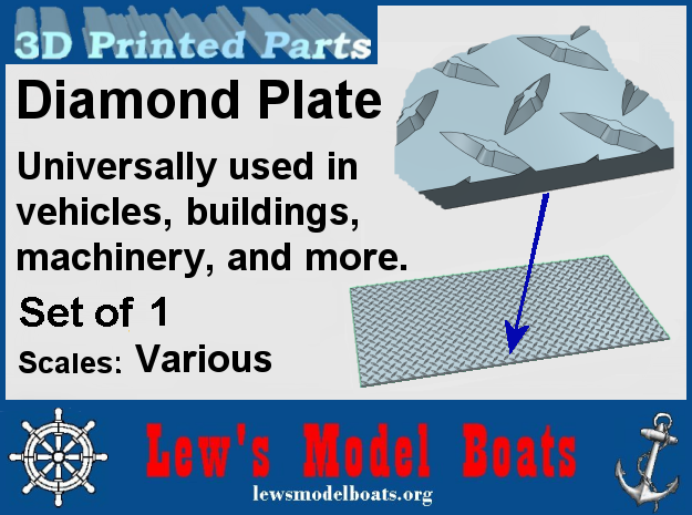"""Diamond Plate (vari scales of 18"""" X 36"""" full scale in Smooth Fine Detail Plastic: 1:8"""
