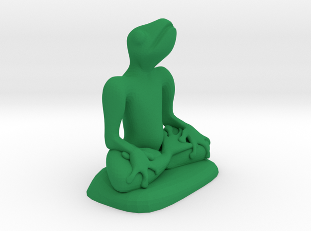 frog meditating in Green Processed Versatile Plastic