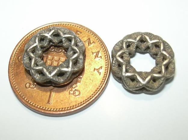 3 strand double mobius charm bead 3d printed Photo - penny shown for size