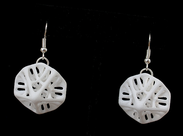 Decahedron Earings in White Strong & Flexible Polished