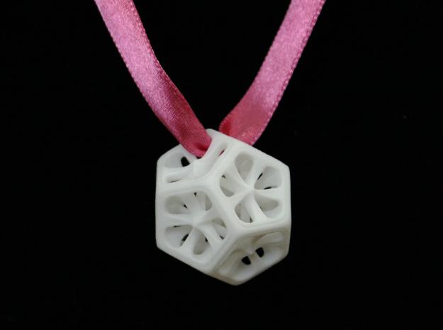 Dodecahedron Pendant in White Strong & Flexible Polished
