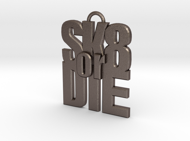 """SK8 or DIE"" keychain in Polished Bronzed Silver Steel"