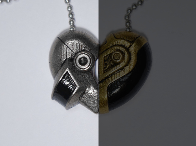 Robot Love Pendant (Silver Half) 3d printed Read Below