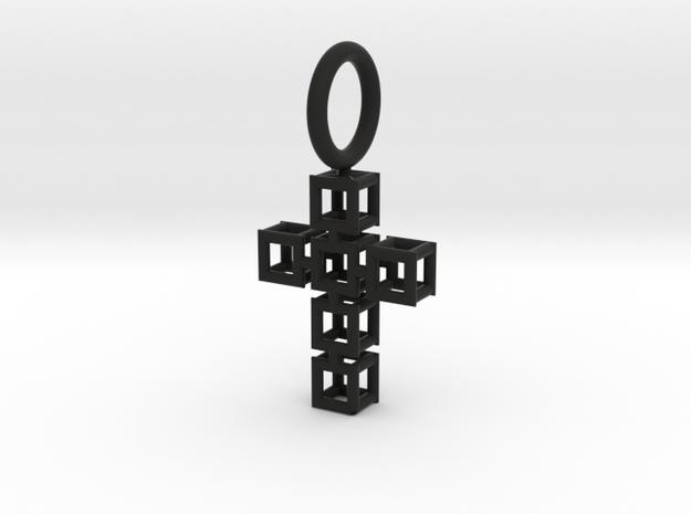 Square Cross Pendant in Black Natural Versatile Plastic