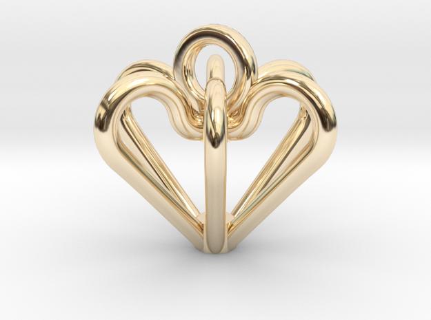 Elegant Heart Pendant  in 14k Gold Plated Brass