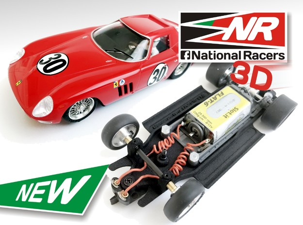 3D Chassis - Monogram Ferrari 250 GTO/LM - Inline in Black Strong & Flexible