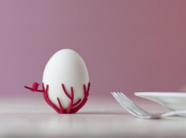 birdsnest-eggcup 3d printed birdsnest winter red