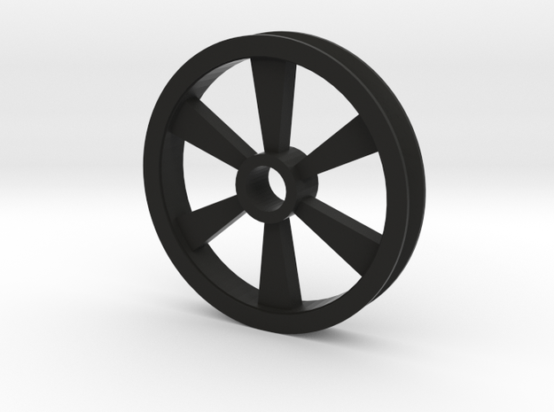 6 spoked Gear Pulley in Black Natural Versatile Plastic: 1:87 - HO