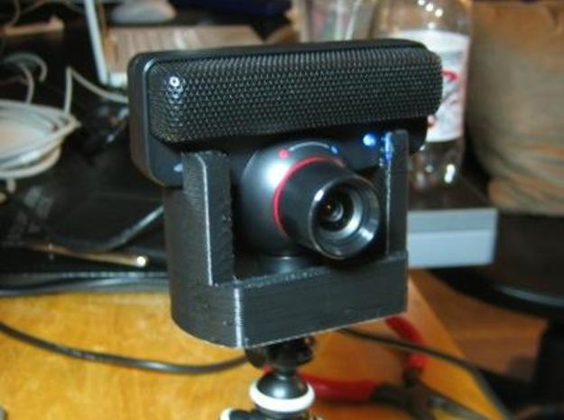 Tripod Mount for PS3 Eye 3d printed Mount with PS3 Eye in place.