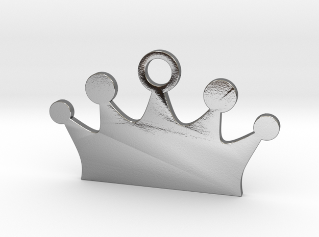 Customizable Crown Pet Tag in Polished Silver