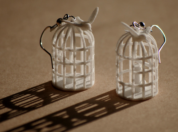 Flown the coop 3d printed Bird cage earrings printed in white