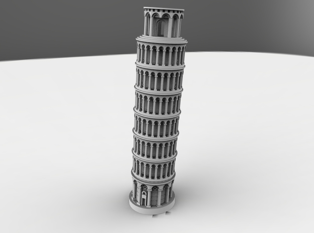 Leaning Tower Of Pisa in White Natural Versatile Plastic