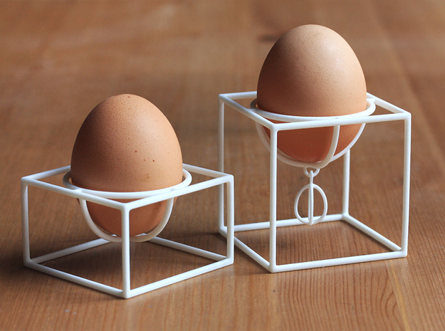 Cube egg cup set in White Processed Versatile Plastic