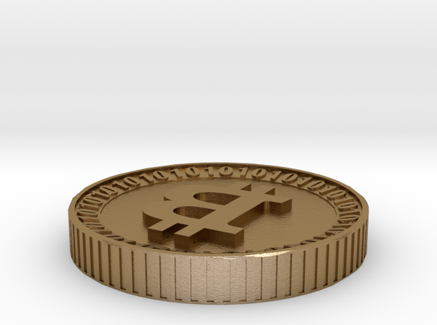 Bitcoin with hideaway slot for private keys in Polished Gold Steel