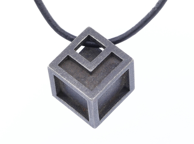 Cube with edges in Polished and Bronzed Black Steel