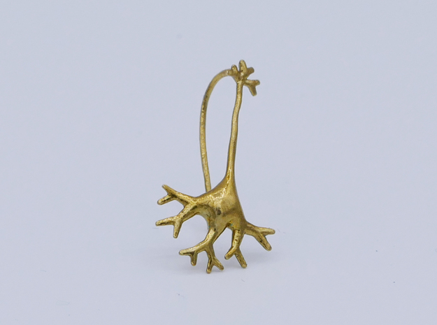 Neuron earring in Natural Brass