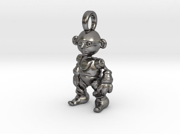 pendant Clockwork Gnome  in Polished Nickel Steel